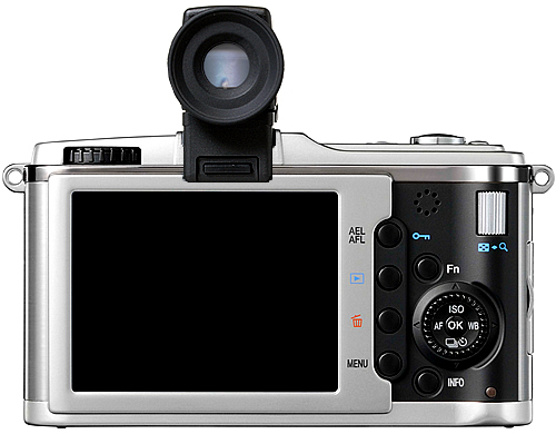 This image shows the E-P1 with the Ricoh EVF (photoshopped)